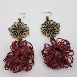 Earrings Floral Flower Rope Red Gold Tone Dangle S